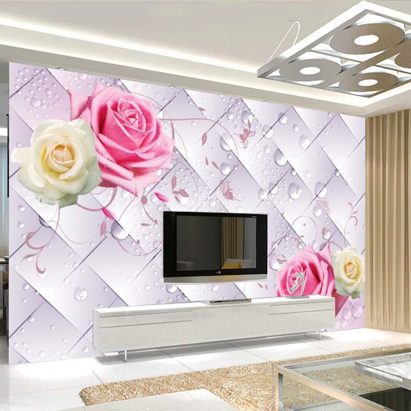 3D Large Mural TV Backdrop Rose Nine Decoration Mural Wall Cloth Sofa Soft Bag Wallpaper