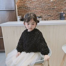 New autumn Korean style sweet solid color fur long-sleeved  sweatshirt for girls