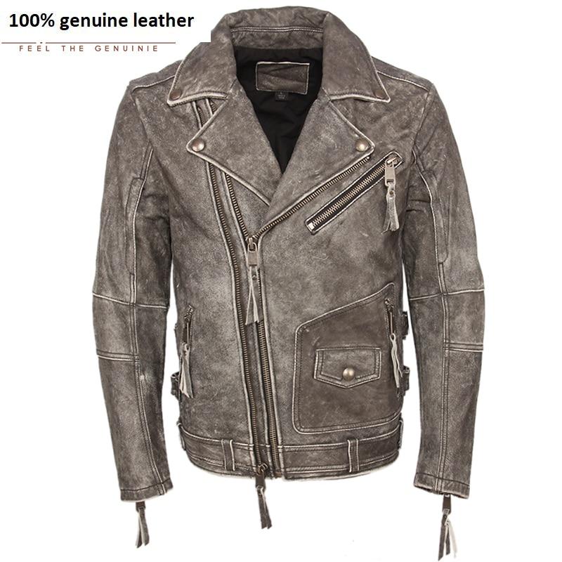 Vintage Motorcycle Jacket Men Leather Jacket Thick 100% Cowhide Slim Fit Moto Biker Genuine Jacket Man Leather Coat Winter M455