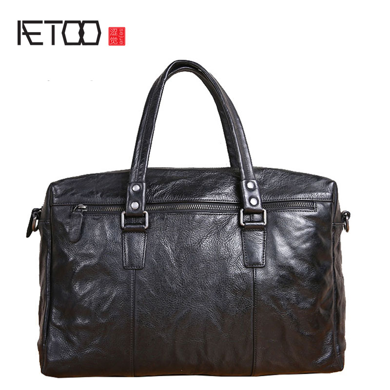 Original Handmade Briefcase Men's Leather Retro Briefcase Business Leisure Travel Bag Large Capacity Leather Men's Bag Tide