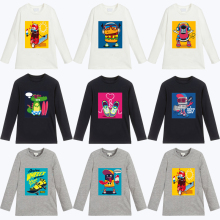 2019 New Spring Autumn Fashion Cartoon Dinosaur Print Kids T-Shirts For Girls Cotton Long Sleeve Boys T Shirt Girls Tops Clothes