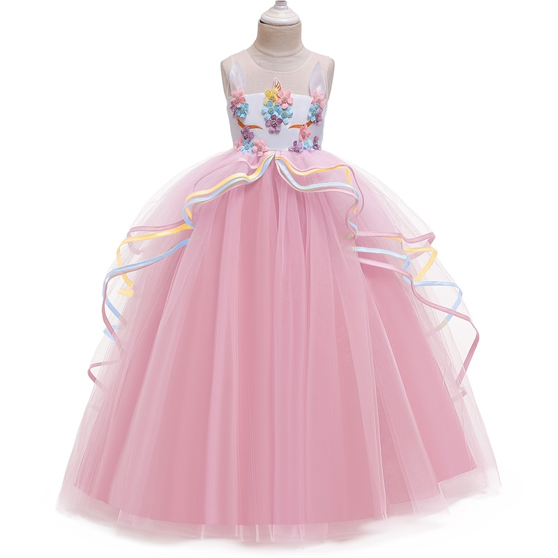 Rainbow Unicorn Cosplay Girl Dress Party Elegant Flower Lace Long Tutu Formal Ball Gown Princess Baby Dresses 5 7 8 12 14 Years 4