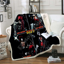 Plstar Cosmos Band KISS Rock & Roll All Nite Party  Blanket 3D print Sherpa Blanket on Bed Home Textiles Dreamlike style 11