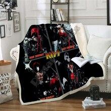 Plstar Cosmos Band KISS Rock & Roll All Nite Party koc 3D print Sherpa narzuta na łóżko tekstylia domowe zjawiskowy styl 11