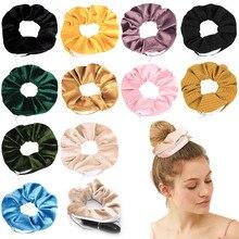 12 Pcs/lot Creative Zipper Scrunchies with Pocket Women Velvet Hidden Storage Hair Tie Elastic Band Wholesale Hair Accessories
