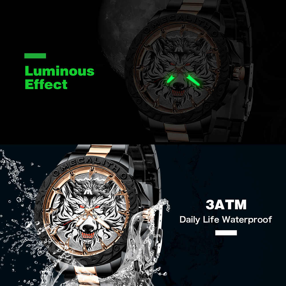 Horloge Mannen 2020 Megalith Mode Luxe Wolf Hoofd Reliëf Sport Waterdicht Roestvrij Staal Mannelijke Klok Lichtgevende Relogio Masculino