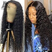 Encaracolado profundo 4x4 perucas de fechamento do laço onda profunda 28 30 polegadas frente do laço perucas de cabelo humano onda de água brasileira perucas frontais do laço