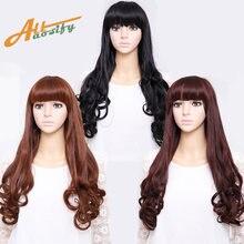 Allaosify длинные вьющиеся парики с челкой для женщин афро американская