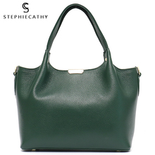 SC 100% Genuine Leather Bucket Bag Women casual Tote top-han