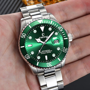 Image 5 - Luxury Green Men Watches Classic Silver Stainless Steel 30M Waterproof Casual Business Mens Sport Wrist Watch  Japan Movement