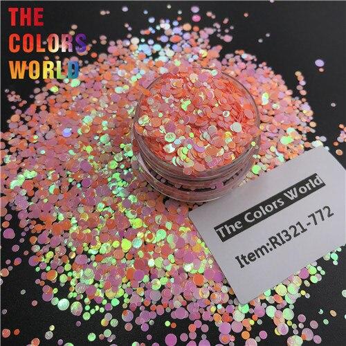 TCT-363 круглая точка микс Русалка жемчуг блеск для ногтей художественное украшение Смола Искусство на тумблеры и формы ремесло аксессуары фестиваль - Цвет: RI321-772   50g