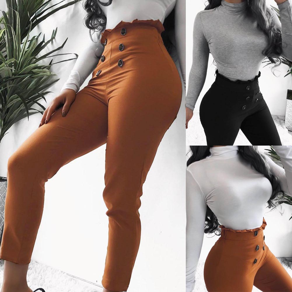 Fashion Lace Stripe Women's Trousers Retro Leggings Pants Ladies Vintage High Waist Pants Elasitic Waist Casual Pants Solid 2019