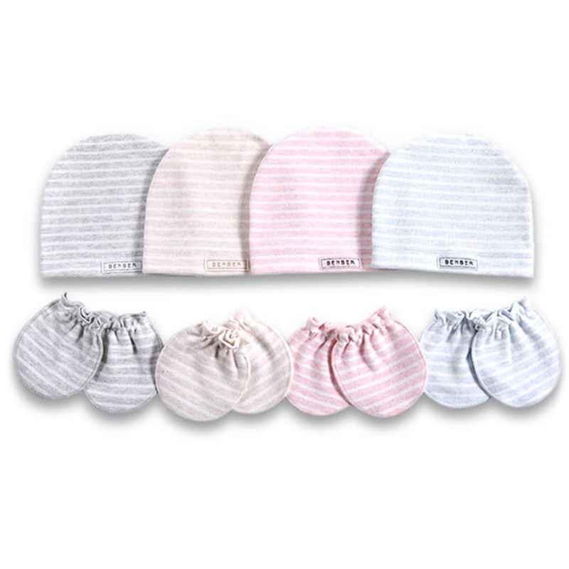 2 ชิ้น/เซ็ตง่ายทารกแรกเกิดเกิดหมวกถุงมือชุดผ้าฝ้ายเด็กทารก Anti-scratch ถุงมือหมวกของขวัญ