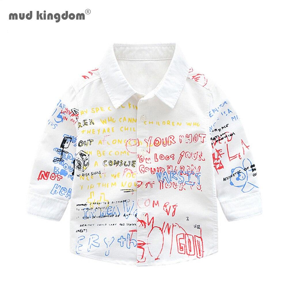 Mudkingdom Boys Shirts Colorful Fashion Letter Print Long Sleeve Lapel Tops Kids Clothing Spring Graffiti Boys Shirt 1