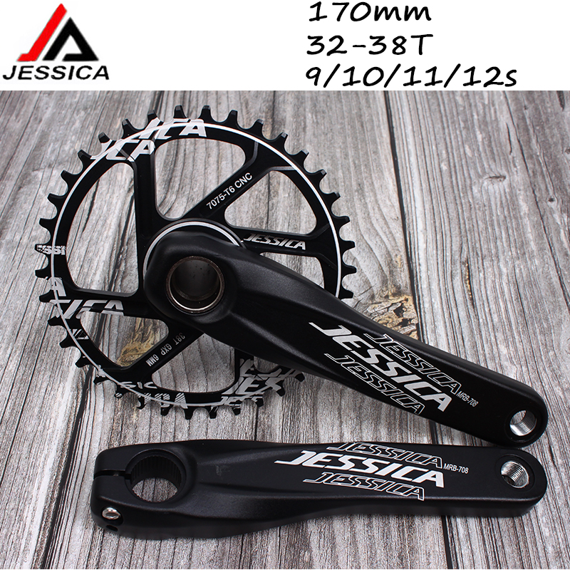 US MTB Road Bike 104BCD Crankset 9//16in 3 Bearing Pedals Crank Protector BB