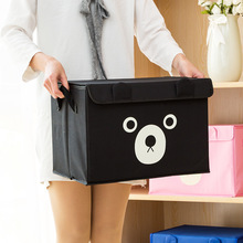 Desktop Storage Box Cute Printing Waterproof Organizer Cotton Linen Sundries Basket Cabinet Underwear Bag