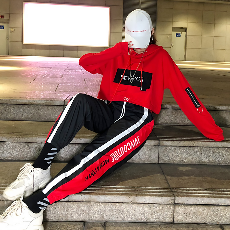 Tide brand suit chandal mujer 2 piezas female autumn Korean street dance hip hop leisure bf sports net red two-piece set women 20