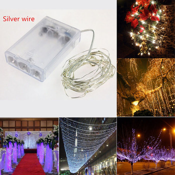 2M 3M 5M 10M LED Silver wire lamp 3AA Battery Operated LED Fairy String Light for Christmas Holiday Wedding Party Decor christmas string light led battery light 2m 3m 4m 5m 10m holiday lights wedding led decoration lamp series battery