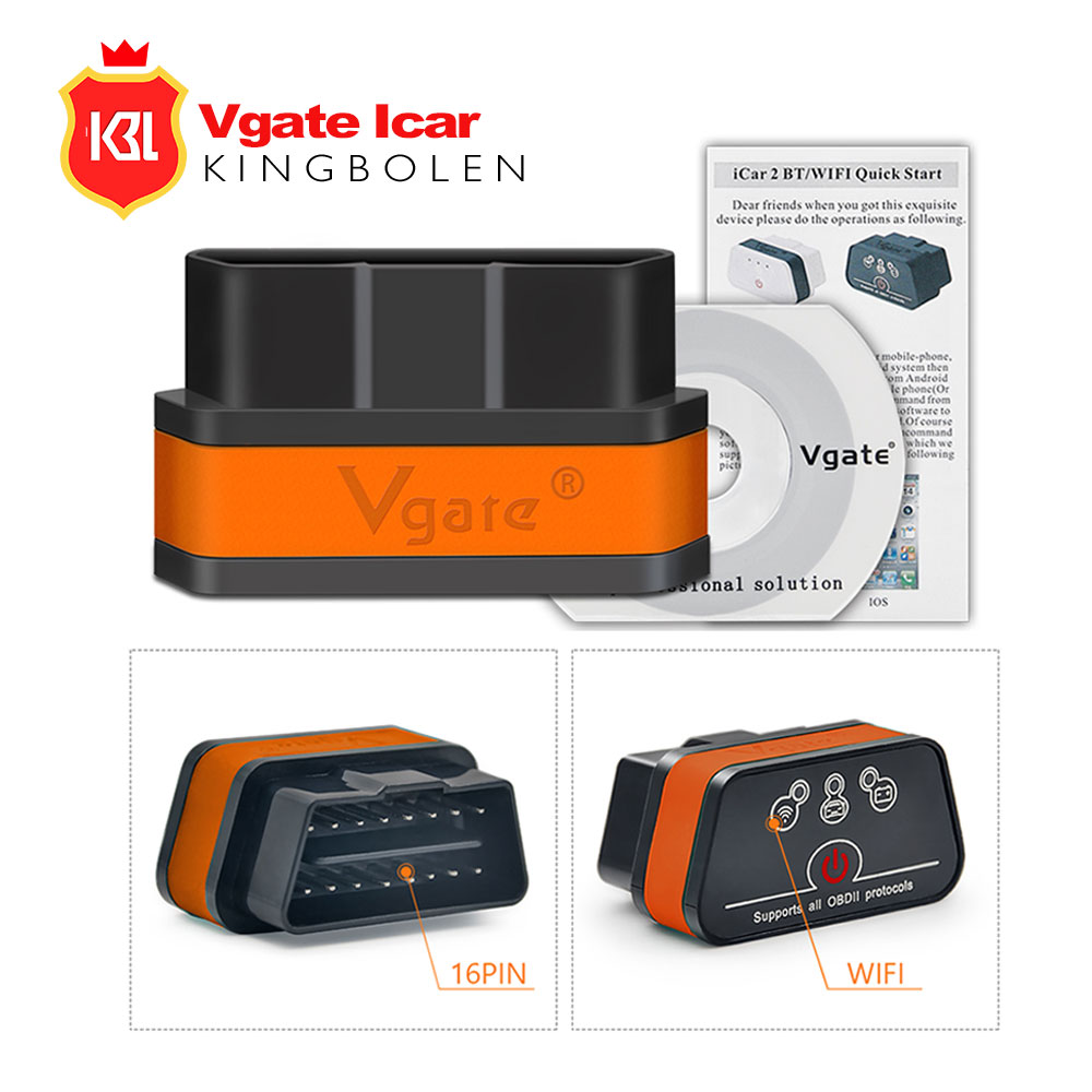 Vgate iCar2 ELM327 Bluetooth Wifi V3.0 OBD2 Car Diagnose Scanner Code Read Tool