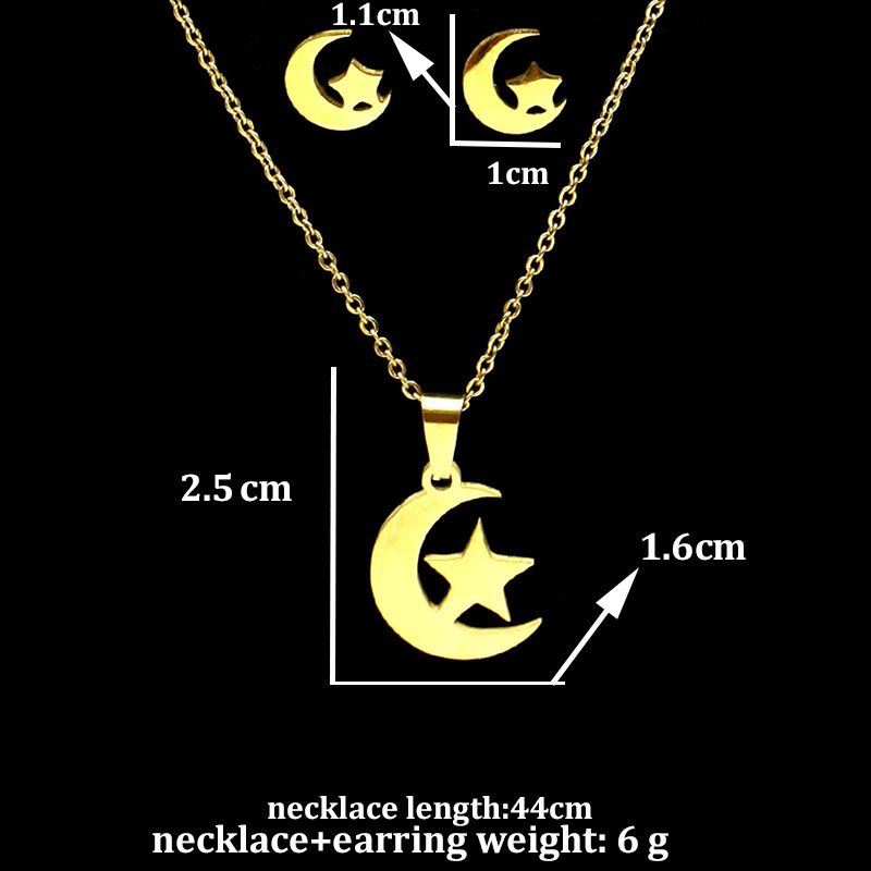 fengnee luxury Stainless Steel Jewelry set For Women Love Gold Pendant moon star Necklace sets in Jewelry Sets from Jewelry Accessories