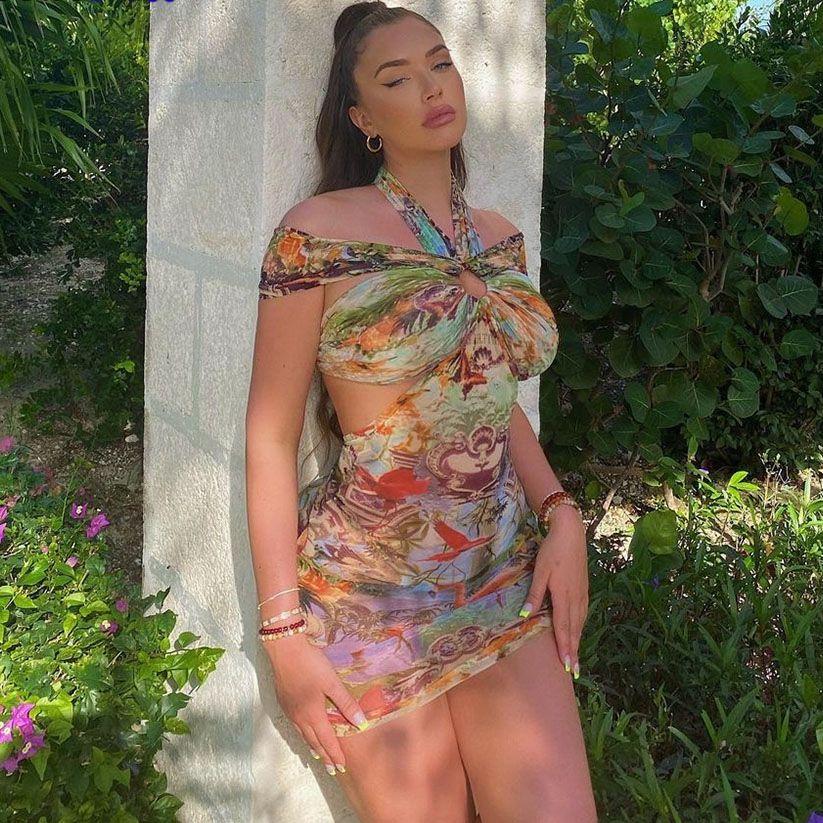 Странный Кот красочные с лямкой на шее, костюм с сексуальным вырезом и открытой спиной, сексуальное женское платье без рукавов облегающее м...
