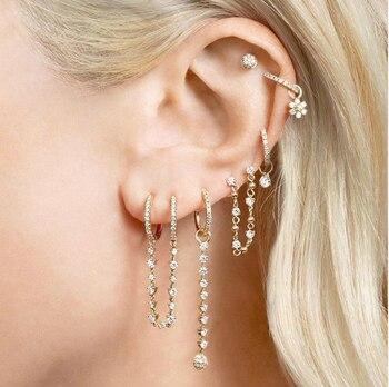 double piercing 2 hole tassel chain mini cz hoop earring prong setting cz tennis chain fashion women jewelry
