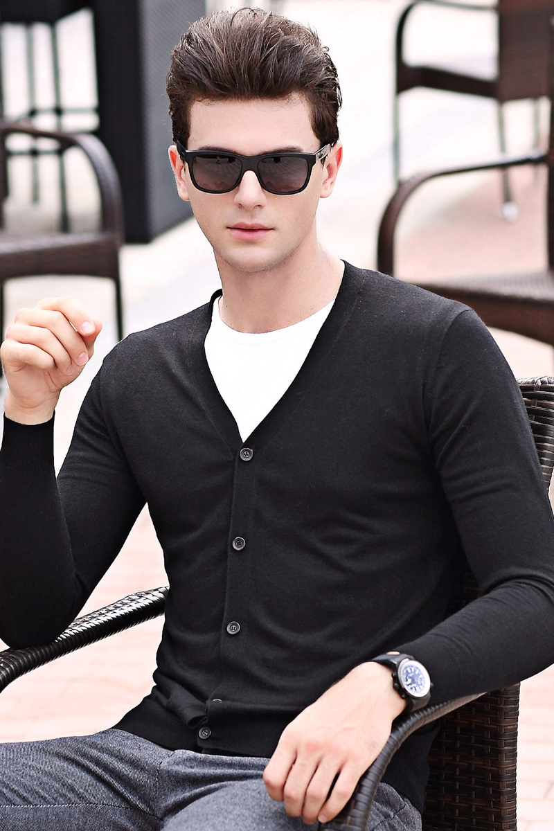 New Men Fashion Classic Solid Color Cashmere  Cardigan Male Casual Slim Wool  Knitwear Long Sleeve