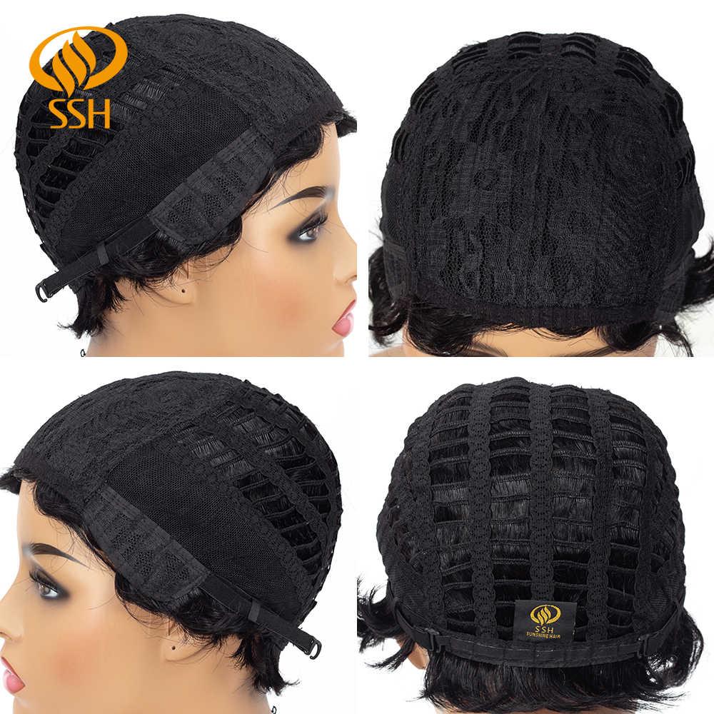 Ssh brasileiro curto em linha reta perucas pixie corte parte lateral natural remy peruca de cabelo para preto feminino real cabelo humano fora preto 6 Polegada