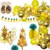 Decoración de Fiesta Temática de piña, globo de aluminio de piña, pancarta de papel Aloha, fiesta Tropical, decoración de fiesta de cumpleaños hawaiana
