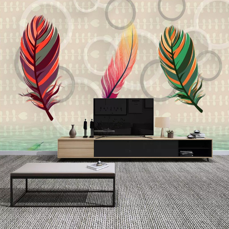 3D Modern Minimalist Northern European-Style Color Feather Living Room Bedroom Sofa TV Backdrop Wallpaper Seamless Mural