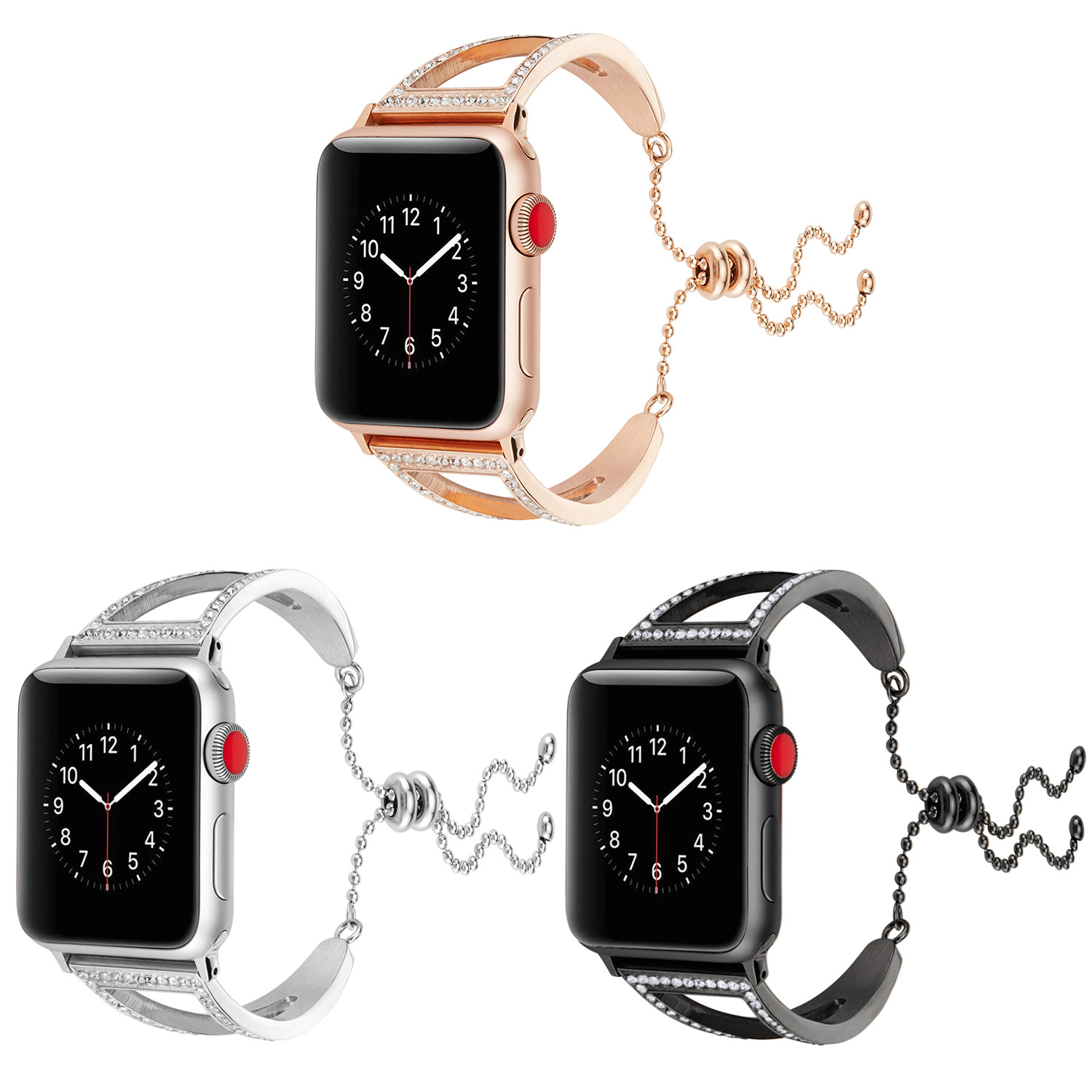 Suitable For Apple Watch Hollow Out Bracelet Diamond Set Watch Strap IWatch43 S Metal Stainless Steel Retractable Watch Bracelet