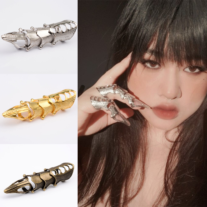 Steampunk Metal Joint Armor Finger Ring For Women Rock Punk Dragon Claw Exaggerated Long Knuckle Full Gothic Rings Men