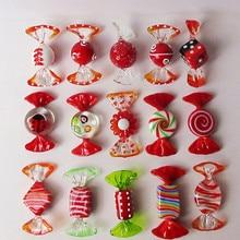15 قطعة زجاج أحمر مورانو اليدوية كاندي البوب الفن ، عيد الميلاد حلية قلادة ديكور للطاولات ، ديكور المنزل ، الجدول الحسنات ، حفلة