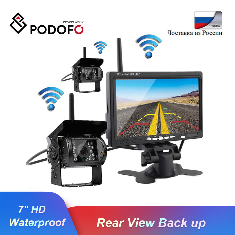 Podofo Built-in Wireless Dual IR Night Vision Waterproof Rear View Back Up Cameras System + 7