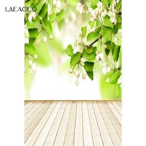 Image 2 - Laeacco אביב דיוקן תפאורות פרחי פריחת דשא אור Bokeh עץ רצפת תינוק יילוד צילום רקע Photozone