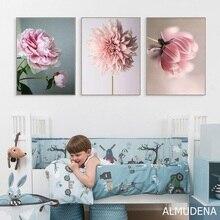 Скандинавский плакат красота жизнь розовые цветы картины модульные настенные художественные принты холст живопись для гостиной Современное украшение дома