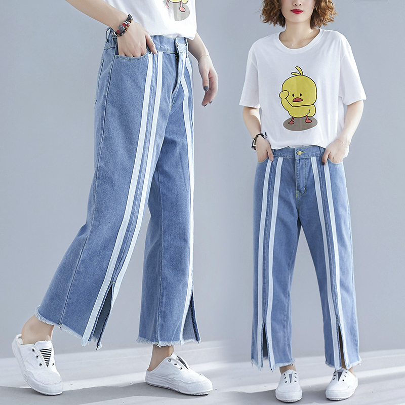 Woman Plus-Size Jeans High Waist Wide-leg Pants Korean Style Striped Slit Pockets Loose Casual Female Denim Ankle-length Trouser