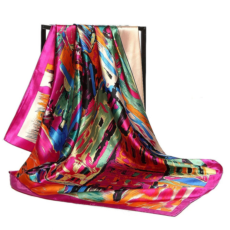 Silk Scarf Women Print Hair Neck Square Scarves Office Ladies Shawl Bandanna 90*90cm Muslim Hijab Handkerchief Muffler Foulard