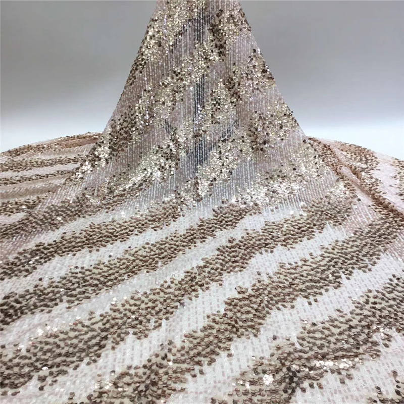 African Sequin Lace Fabric 2020 Nigerian Tulle Sequence Lace Fabric High Quality Lace For Wedding Dress 5 Yards SL69