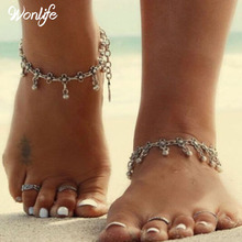 2016 Summer Style Bohemian Gypsy Turkish Tribal Boho Silver Coin Anklet Ankle Bracelet Foot Jewelry