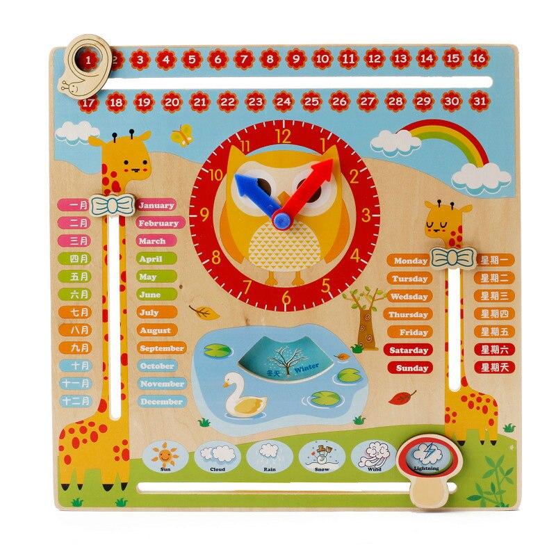 Gratis pengiriman Anak-anak bola kayu multi-fungsi blok jam digital, anak-anak jam alarm blok mainan, jam kalender