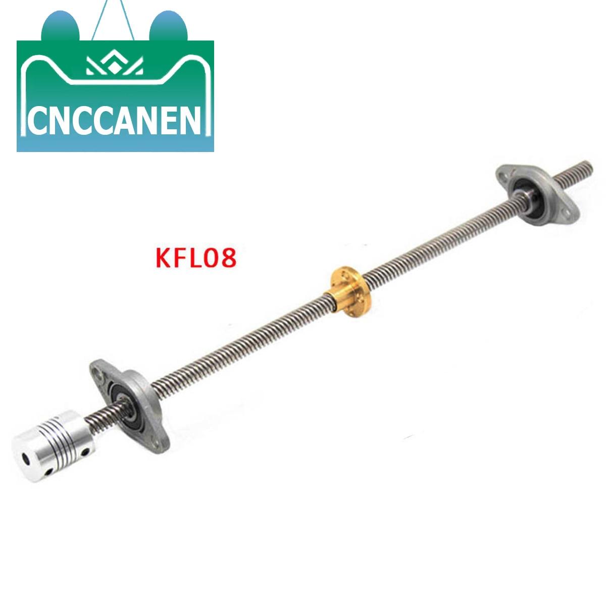 1Pcs T8 Pitch 2mm Lead 8mm Lead Screw 100mm~1200 Mm  + 2Pcs Support KFL08 + 1Pcs Coupler
