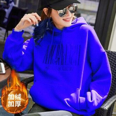 Women blue color hoodie Casual Coat Hat 2020 Winter Loose Women Hoodies Sweatshirt Women Winter Clothing
