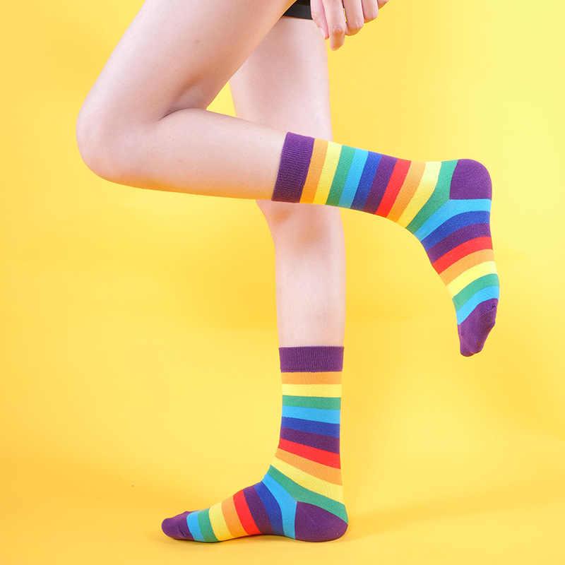 Gençlik güzel güzel Kawaii kız gökkuşağı çorap rahat japon Harajuku zarif Calcetines Mujer çorap