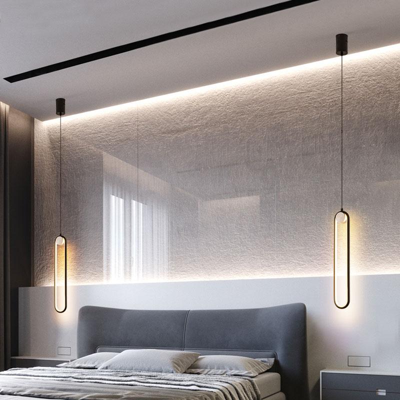 bedroom lights modern simple lamps hanging bedside pendant led background living wall iron lighting hanglamp nordic line