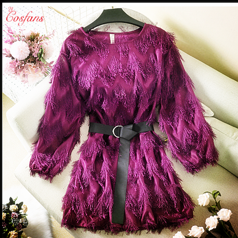 High Waist Solid Bodycon Lady Mini Dresses Woman Vestido Female Women's Feather Dress With Bow Belt Tassel Long Sleeve Bar Dress
