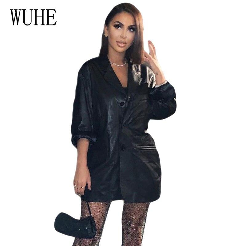 WUHE Women PU Leather Long Sleeve Fashion Faux Jackets Casual Elegant Single-breasted Pockets Coats Female Ladies PU Blazers