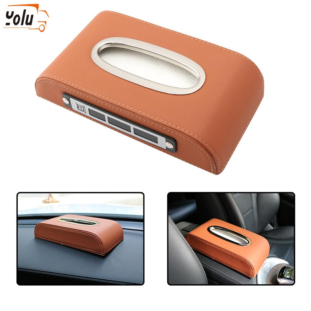 YOLU Car Tissue Box Napkin Paper Towel Container Vehicle Leather Holder Pumping Cassette With Temporary Parking Plates