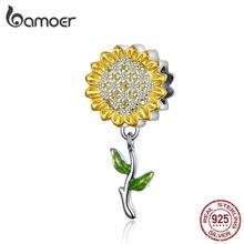 BAMOER złoty kolor słonecznik urok dla kobiet srebrna bransoletka 925 srebro emalia liść koraliki diy biżuteria akcesoria SCC1211