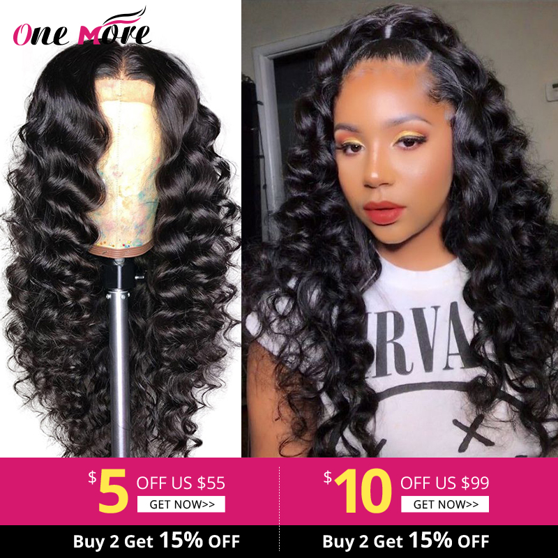One More Pre Plucked Full Lace Human Hair Wigs With Baby Hair Loose Deep Wave  Wig Remy Brazilian Lace Wig Transparent Lace Wig